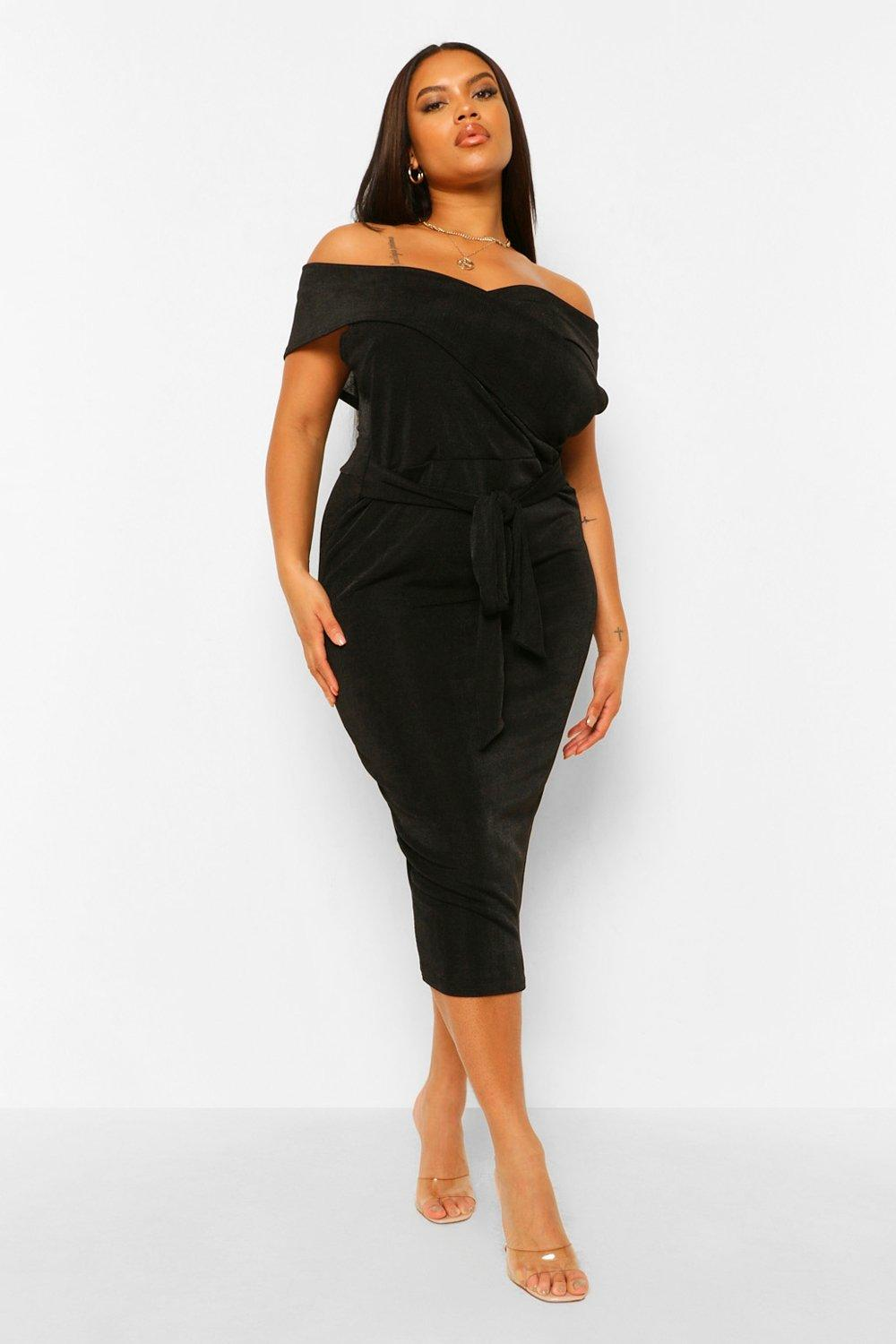 Plus Textured Slinky Off The Shoulder Midi Dress 16