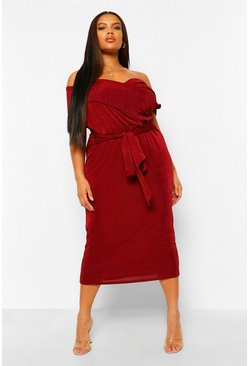Wine red Plus Textured Slinky Off The Shoulder Midi Dress