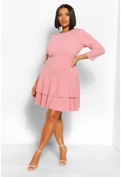 Rose pink Plus 3 Quarter Sleeve Ruffle Skater Dress