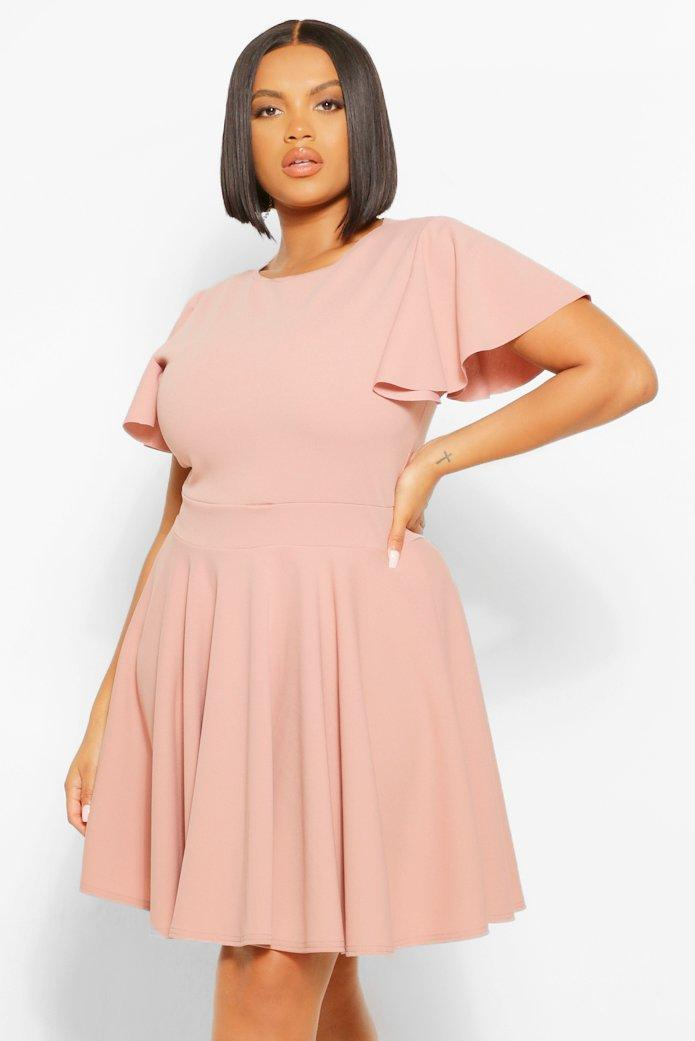 Plus Angel Sleeve Skater Dress 23