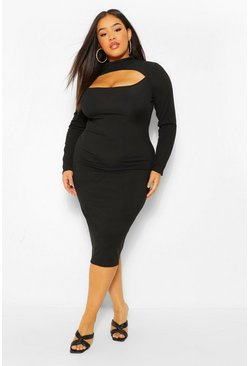 Black Plus Rib High Beck Cut Out Midi Dress