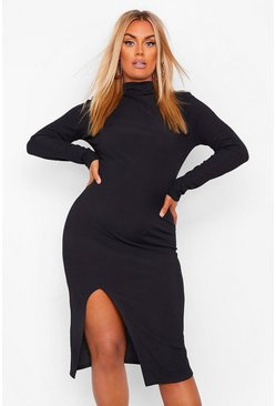 Black Plus Rib Roll Neck Split Front Midi Dress