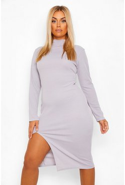 Grey Plus Rib Roll Neck Split Front Midi Dress