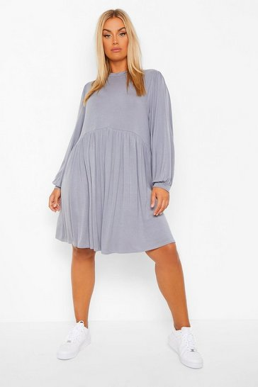 Grey Plus Smock Dress
