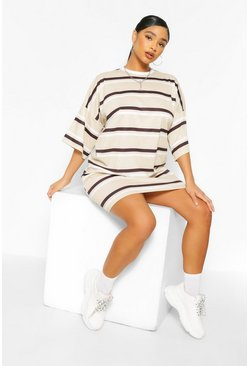 Stone beige Plus Stripe Oversized T-Shirt Dress