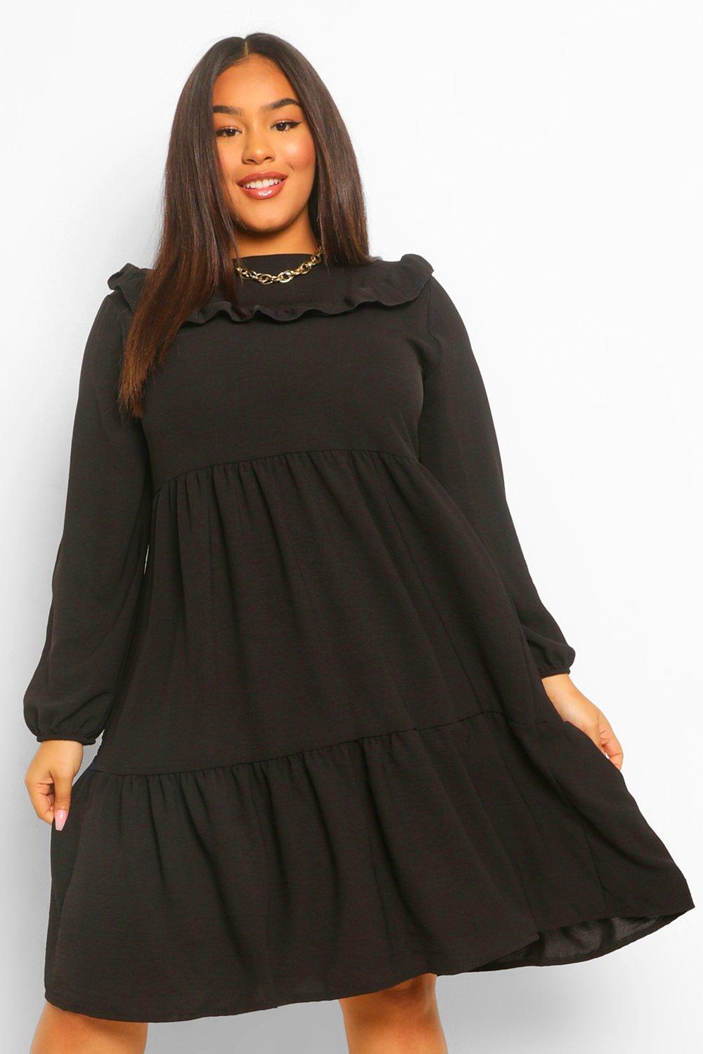 Plus Ruffle Detail Midi Smock Dress 14