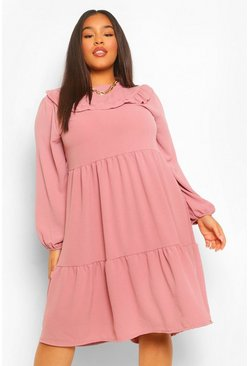 Blush pink Plus Ruffle Detail Midi Smock Dress