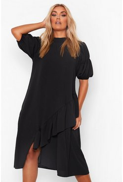 Black Plus High Neck Asymmetric Smock Dress