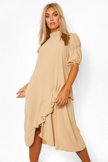 Stone beige Plus High Neck Assymetric Smock Dress