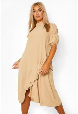Stone beige Plus High Neck Asymmetric Smock Dress