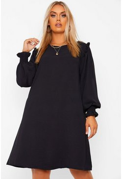 Black Plus Frill Detail long Sleeve Smock Dress