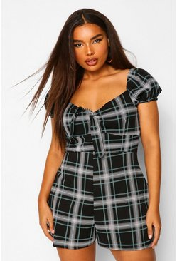 Black Plus Check Tie Front Playsuit