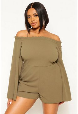 Khaki Plus Off The Shoulder Wide Sleeve Romper
