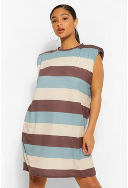 Black Plus Stripe Shoulder Pad Dress