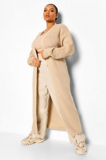 Stone beige Plus Knitted Ribbed Maxi Cardigan