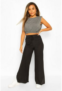 Black Petite Rib Wide Leg Split Hem Trousers