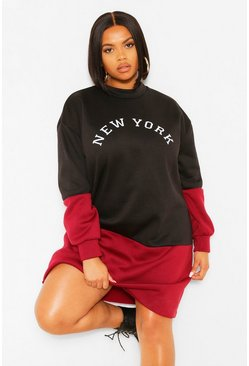 Black Plus New York Colour Block Sweat Dress