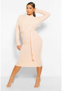 Plus Rib High Neck Belted Midi Dress , Nude color carne