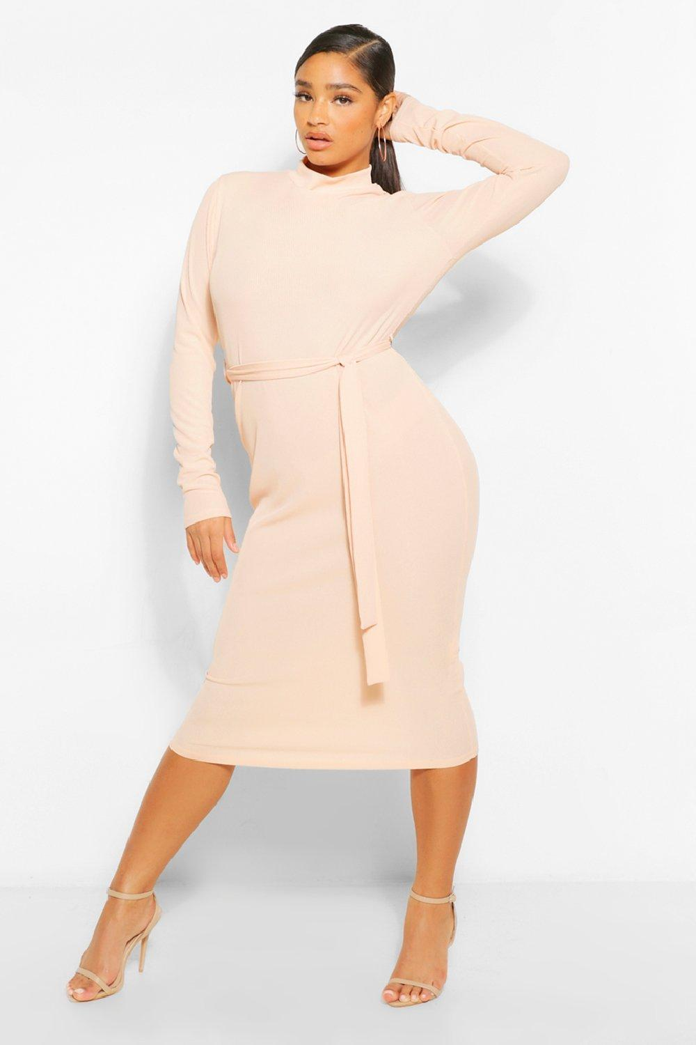 Plus Rib High Neck Belted Midi Dress 8