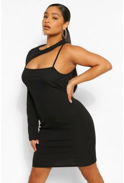 Black Plus Rib Cut Out Bodycon Dress
