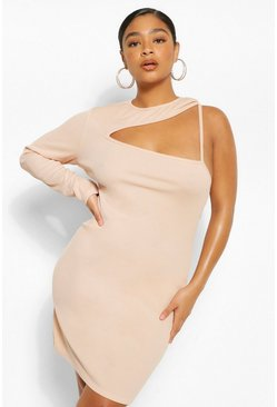 Nude Plus Rib Cut Out Bodycon Dress