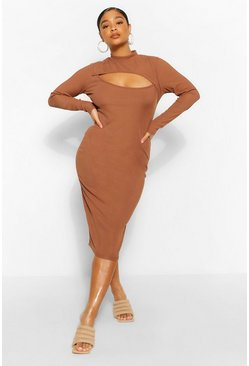 Chocolate brown Plus Rib Cut Out Midi Dress