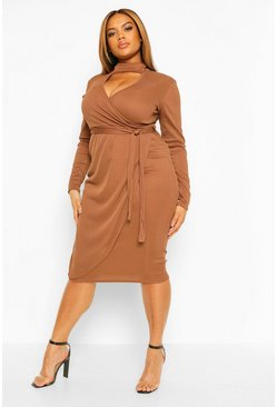 Plus Rib Cut Out High Neck Midi Dress, Chocolate marron