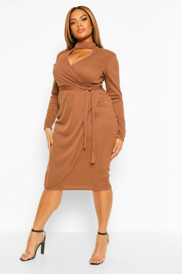 Chocolate brown Plus Rib Cut Out High Neck Midi Dress
