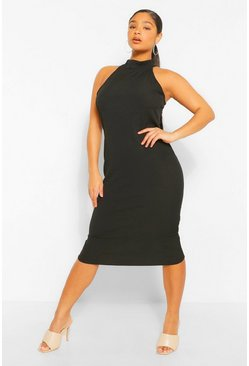 Black Plus Rib Halter Neck Midi Dress