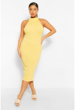 Lime green Plus Rib Halter Neck Midi Dress
