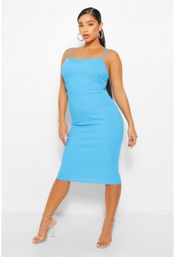 Azure blue Plus Rib Square Neck Midi Dress