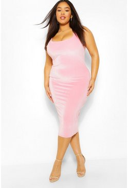 Pale pink pink Plus Velour Midi Scoop Neck Dress