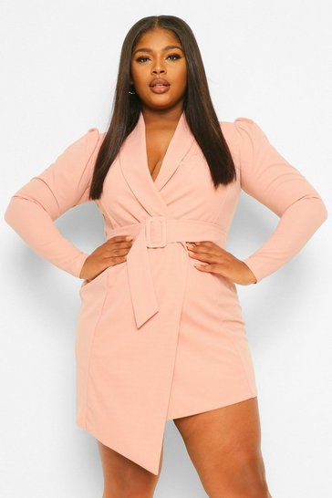 Blush pink Plus Belted Blazer Dress