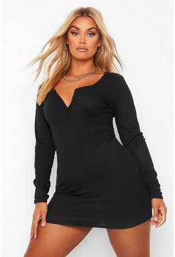 Plus Long Sleeve Soft Rib Knit Button Dress, Black Чёрный