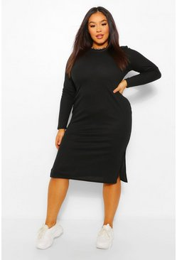 Plus Long Sleeve Soft Rib Knit Midi Dress, Black schwarz