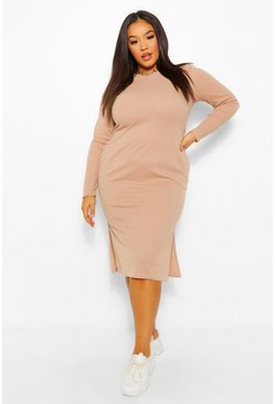 Stone beige Plus Long Sleeve Soft Rib Knit Midi Dress