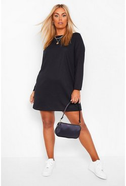Plus Soft Rib Knit T-Shirt Dress, Black Чёрный
