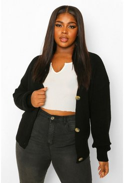 Plus Fisherman V Neck Cardigan, Black negro