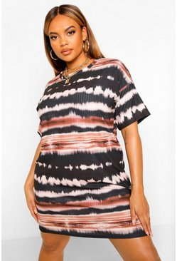 Black Plus Tie Dye Soft Rib T-Shirt Dress