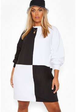 Black Plus Colour Block Sweat Dress