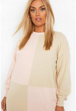 Pink Plus Colour Block Sweat Dress
