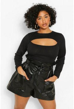Black Plus Keyhole Long Sleeve Rib Top