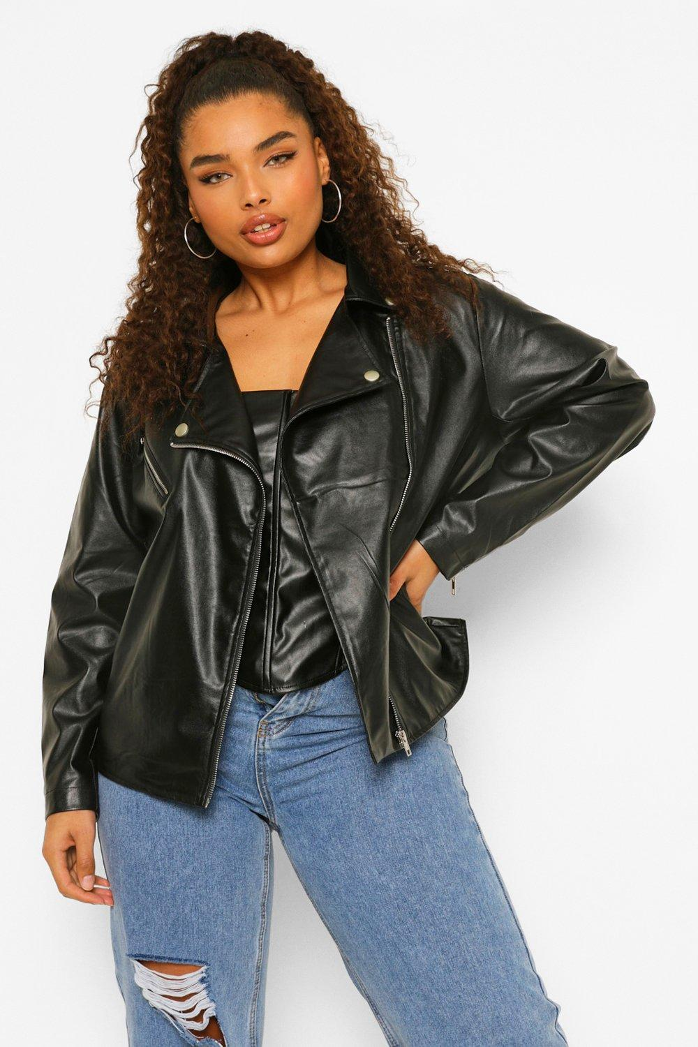 Plus Zip Detail Faux Leather Jacket 12