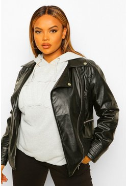 Black Plus Faux Leather Jacket