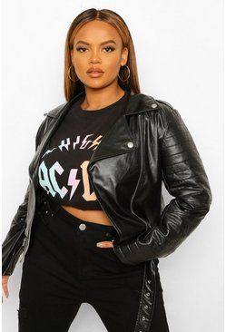 Black Plus Faux Leather Buckle Jacket