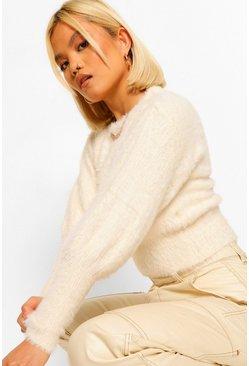 Ivory Petite Fluffy Knit Volume Sleeve Jumper