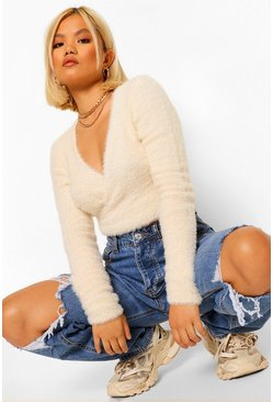 Ivory white Petite Fluffy Knit Wrap Front Jumper