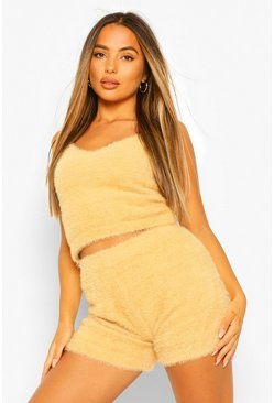 Camel beige Petite Fluffy Knit Shorts