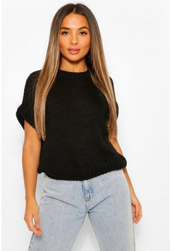 Black Petite Oversized Cropped Jumper