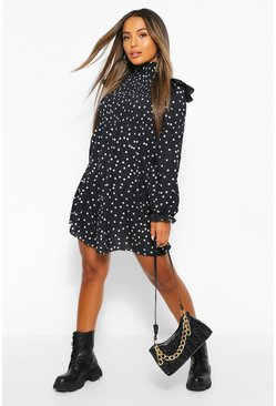 Black Petite High Neck Polka Dot Frill Edge Mini Dress